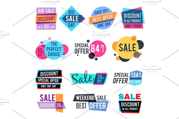 Fashion Design Pricing Tags And Discount Labels Vector Templates With Color Multiply Effect