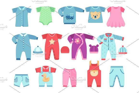 Boy And Girl Baby Garments Infant Vector Clothes