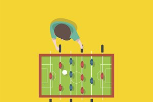 Man playing football tabletop vector