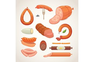 Set of vector cartoon sausage