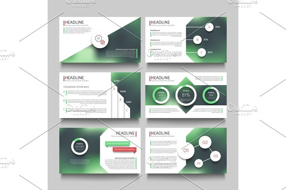 Company Presentation Booklet Pages With Abstract Outdoor Blurred Photos Vector Template