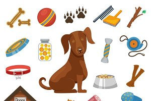 Pet dog vector icons