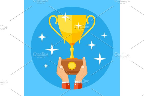 Hands Holding Gold Sports Trophy Cup Success Winning Championship Business Concept