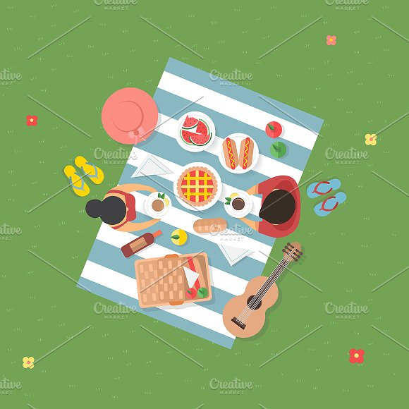 People Picnic At Park Vector