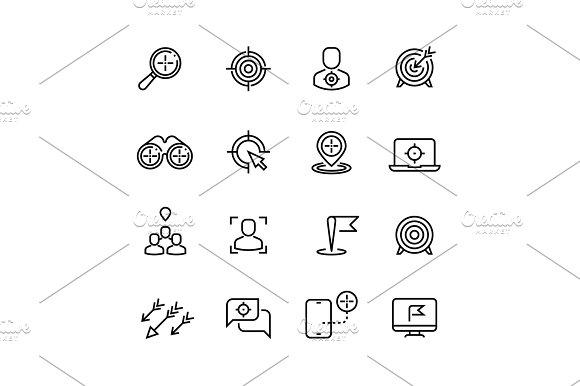 Bullseye Customer Focus And Targeting Line Vector Icons