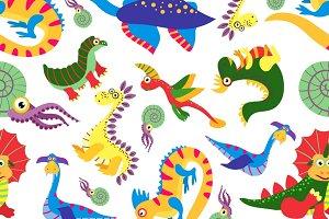 Cute baby dinosaurus pattern