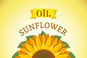 Banner with sunflower