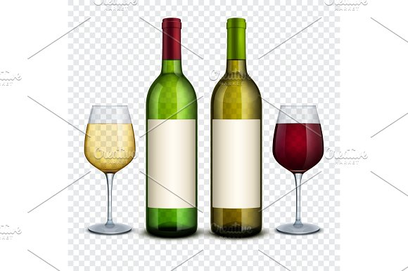 Red And White Wine In Bottles And Wineglasses Vector Mockup