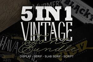 5 IN 1 Vintage Font Bundle