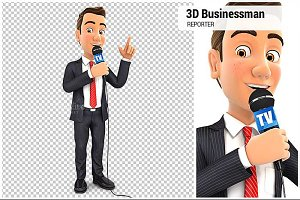3D Businessman with Microphone