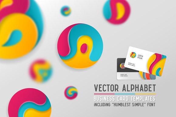 Round Alphabet Business Cards