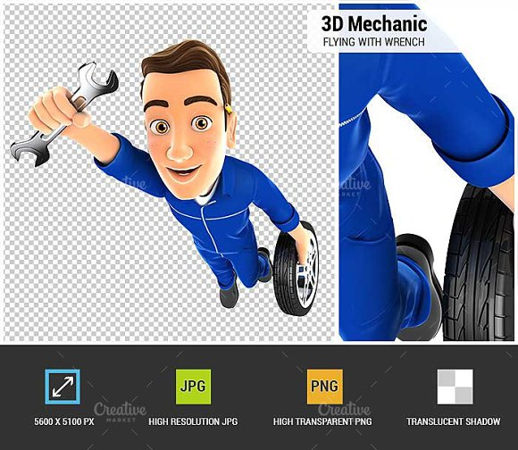 3D Mechanic Flying With Wrench