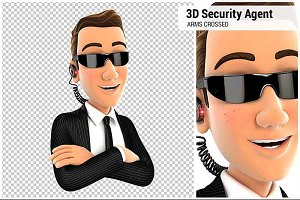 3D Security Agent with Arms Crossed