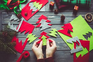 Woman make Christmas decor