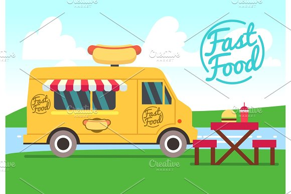 Outdoor Cafe With Food Truck And Tables Street Food Small Business Vector Concept