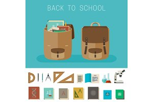 School equipment and backpacks