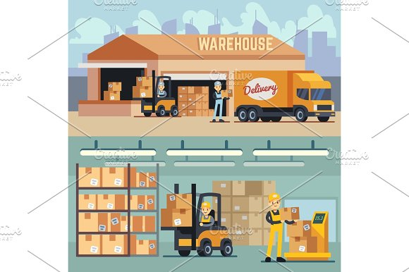 Warehouse Storage And Shipping Logistics Vector Concept