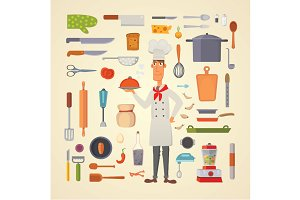 Cooking utensils and chef