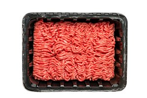 Raw Minced Meat in a Black Plastic Container