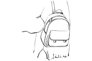 Sketch of schoolgirl with backpack from back