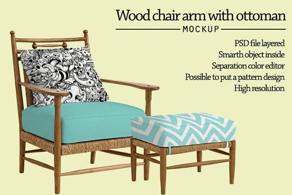 Free Wood chair arm with ottoman mockup
