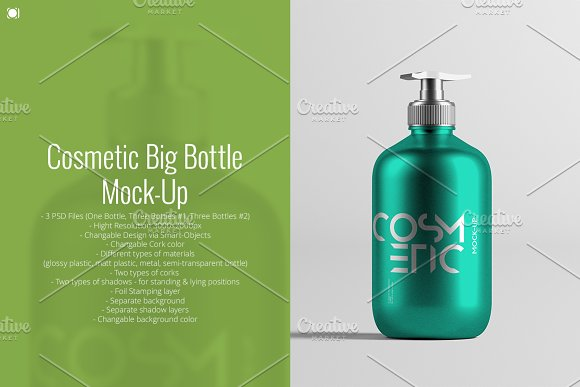 Free Cosmetic Big Bottle Mock-Up