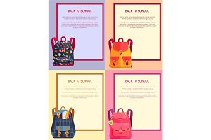 Back to School Banner with Text Backpacks Set