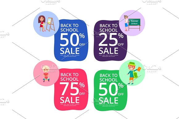 Back To School Set Of Colorful Sale Posters