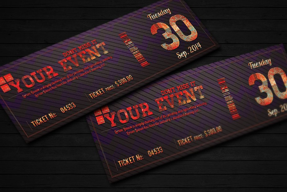 Elegant event ticket 02 ~ Card Templates ~ Creative Market