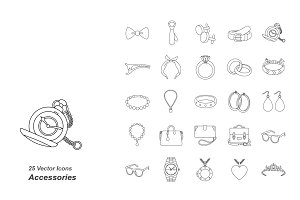 Accessories outlines vector icons