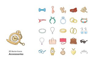 Accessories color vector icons