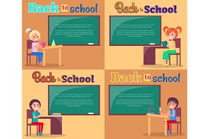 Back to School Posters Set Smiling Boys and Girls