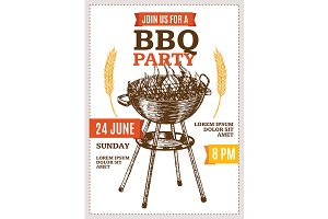 Barbecue Party Poster Hand Draw