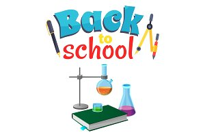 Back to School Sticker with Laboratory Equipment