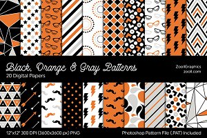 Black, Orange & Gray Digital Papers