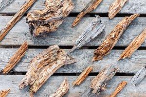 Rotten worn wooden pieces
