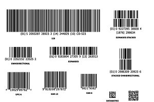 Different barcodes on white