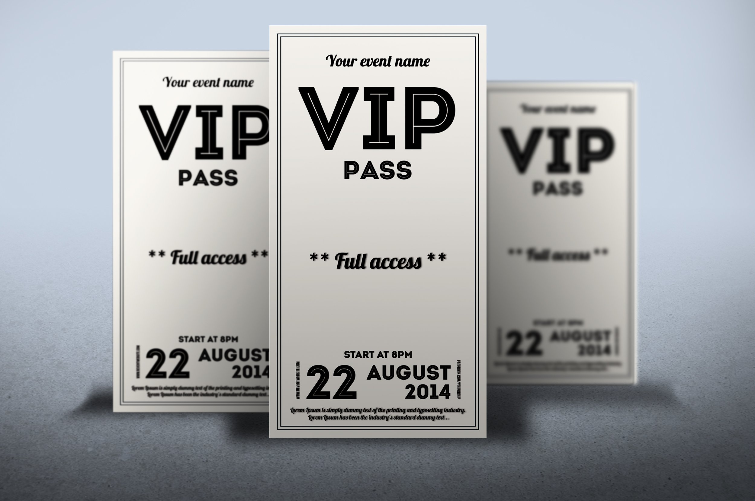 Clean retro style VIP PASS card ~ Card Templates ~ Creative Market
