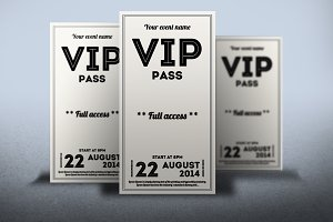Clean retro style VIP PASS card