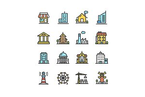 Building House or Home Line Icons
