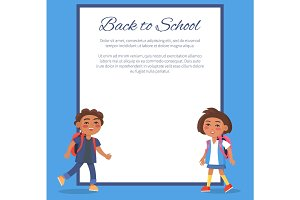 Back to School Poster with Brunette Girl and Boy