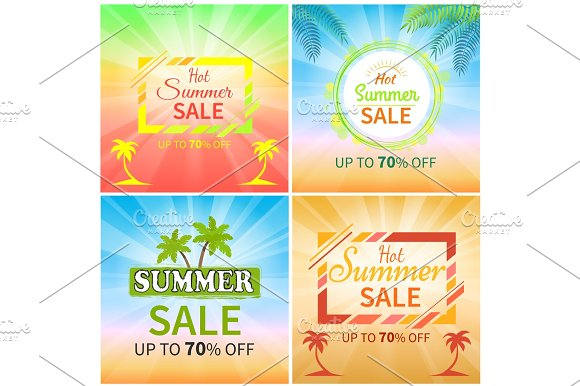 Hot Summer Sale Up To 70% Off Promotional Banners