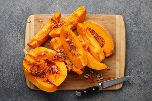 Cut pumpkin on a cutting board
