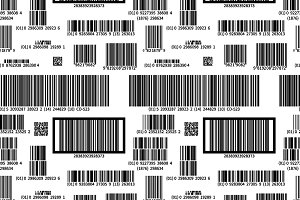 Barcodes on white, seamless pattern