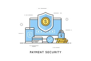 Payment security, data and transactions protection. Flat line ar