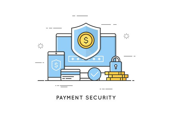 Payment Security Data And Transactions Protection Flat Line Ar
