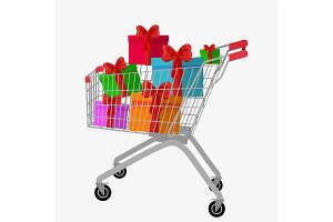 trolley cart with gift boxes Isolated over white background