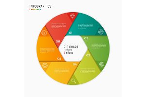 Vector circle chart infographic template. 6 options, steps, part