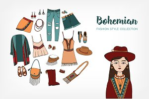 Set,seamless pattern of boho style