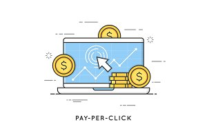 Pay per click, internet marketing. Flat line art style concept.
